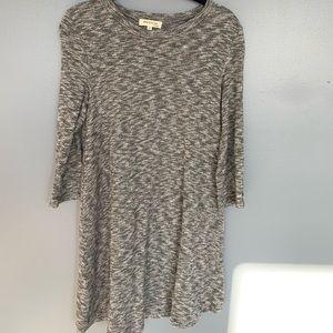 Monteau Knee Length 3/4 Sleeve Dress Grey Medium